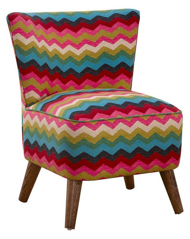 Barnes Modern Chair, Teal Chevron