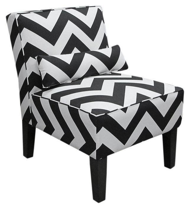 Bergman Armless Chair, Black/White