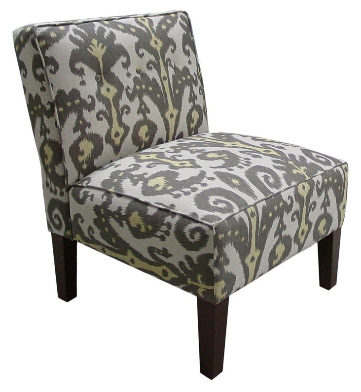 Grant Armless Chair, Graphite/Yellow