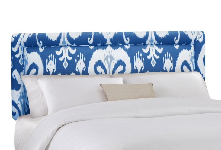 Collins Headboard, Blue Ikat