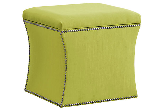 Nail Button Storage Ottoman, Bokhara Lime
