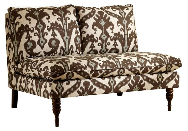 "Bacall 49"" Armless Settee, Brown/Blue"