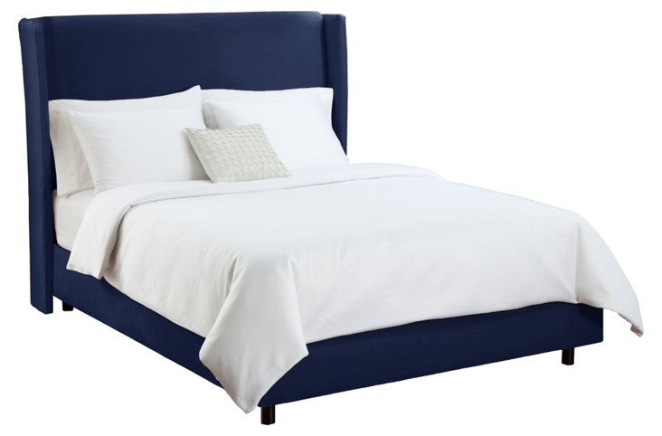 Kelly Wingback Bed, Velvet Navy