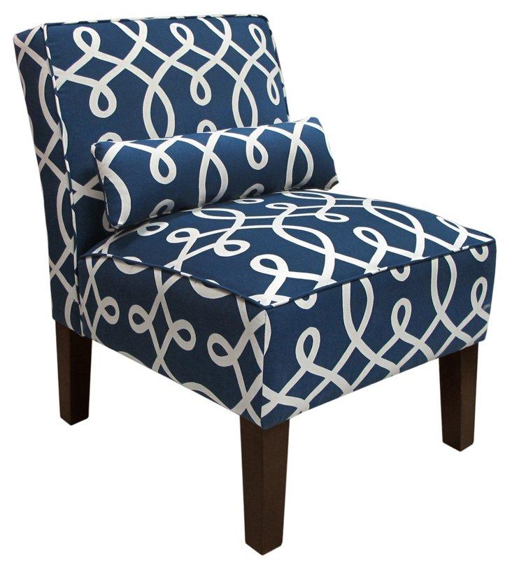 Bergman Armless Chair, Navy/White