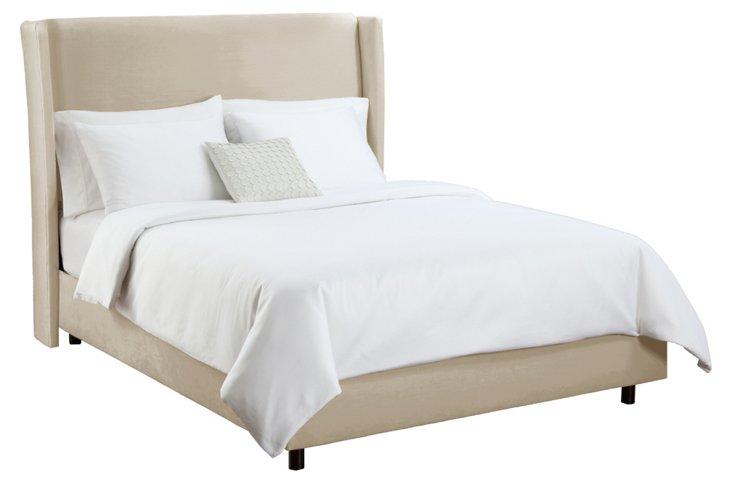 Kelly Velvet Wingback Bed, Buckwheat