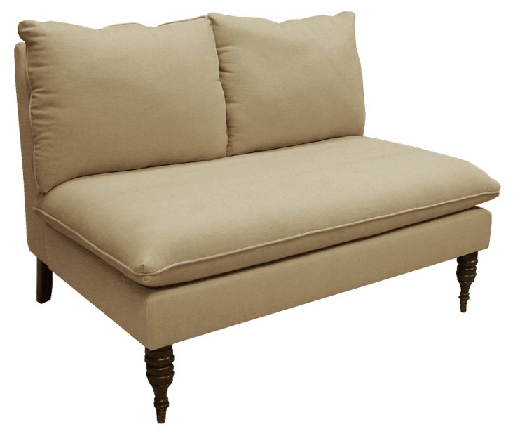 Bacall Armless Settee, Sandstone