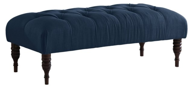 "Stanton 50"" Tufted Bench, Navy"