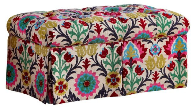 "Olivia 36"" Skirted Storage Bench, Suzani"
