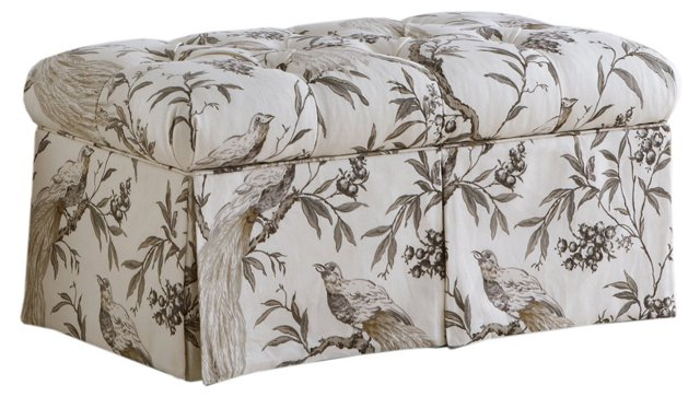 Olivia Skirted Storage Bench, Sepia