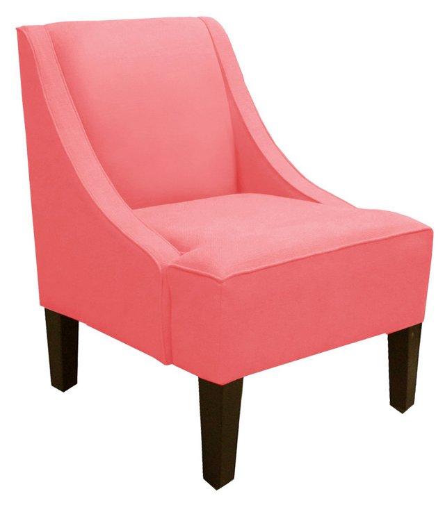 Fletcher Swoop-Arm Chair, Coral