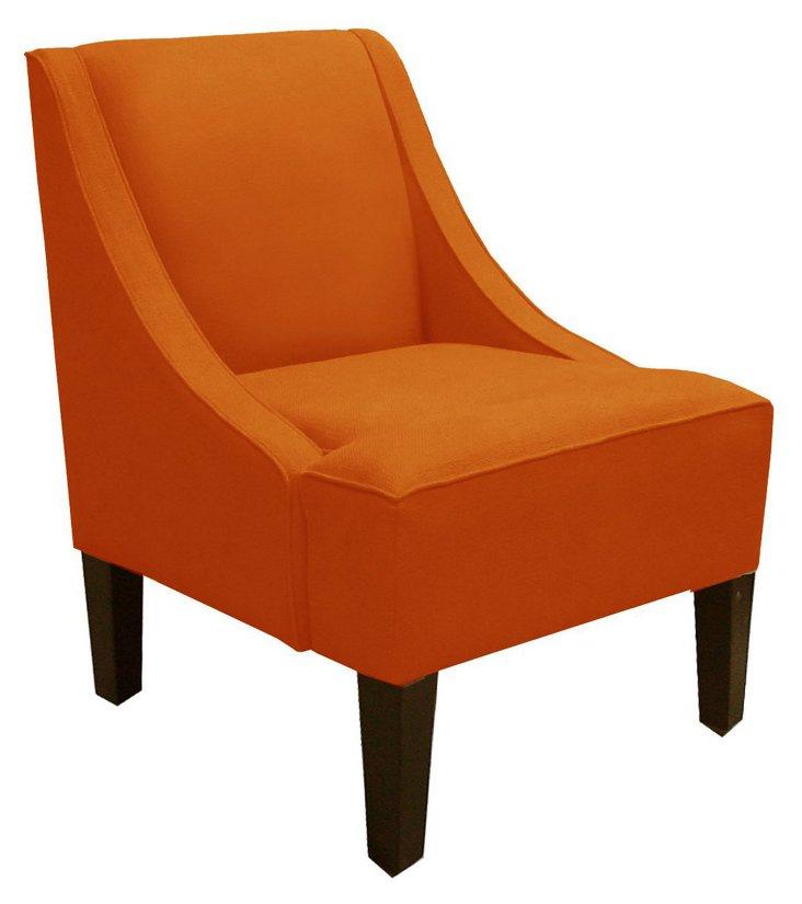 Fletcher Swoop-Arm Chair, Tangerine