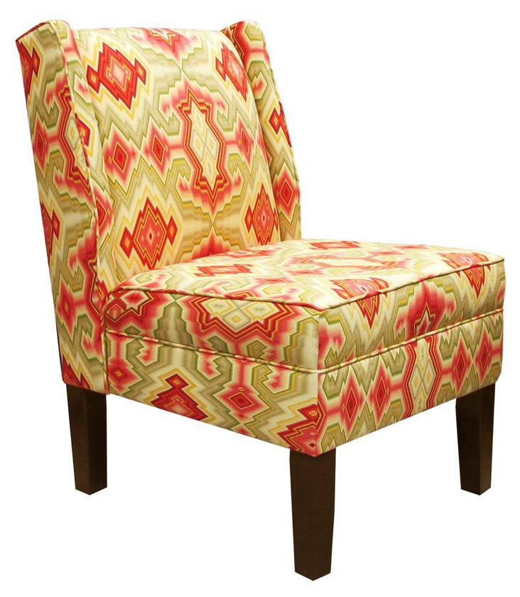Porter Wingback Chair, Sage/Multi