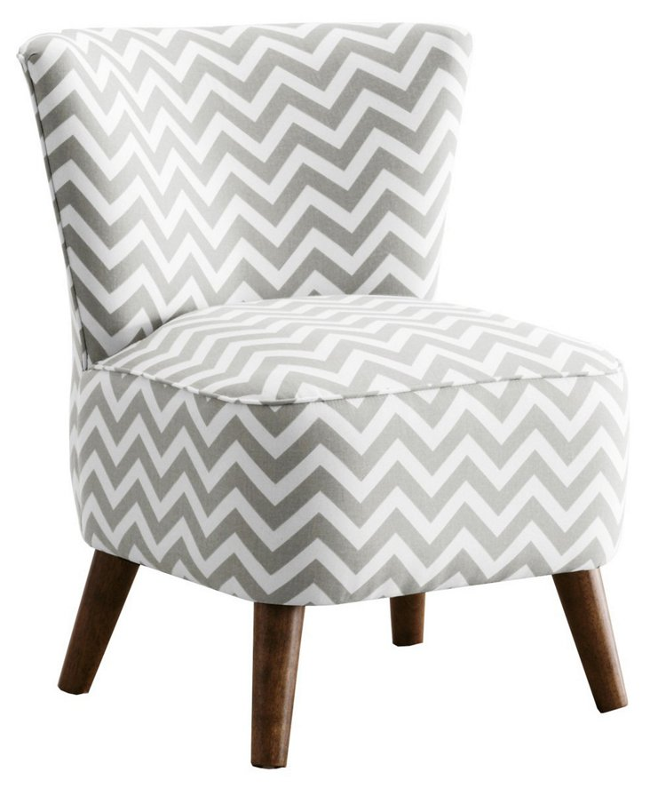 Barnes Cotton Chevron Modern Chair, Gray