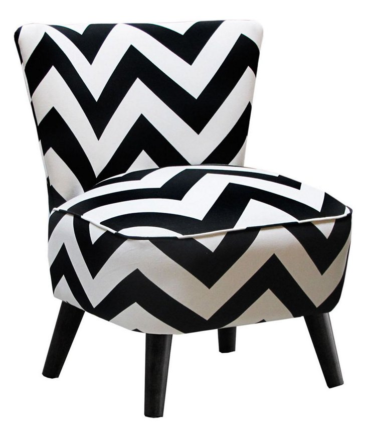 Barnes Chevron Modern Chair, Black/White
