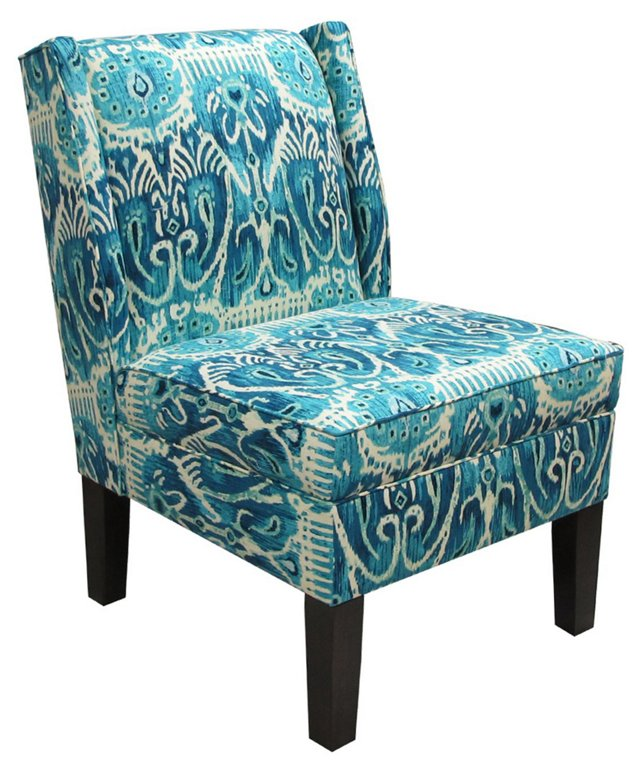 Porter Wingback Chair, Teal/Navy