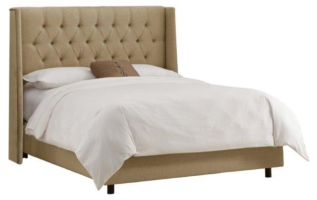 Alexander Tufted Wingback Bed, Sandstone