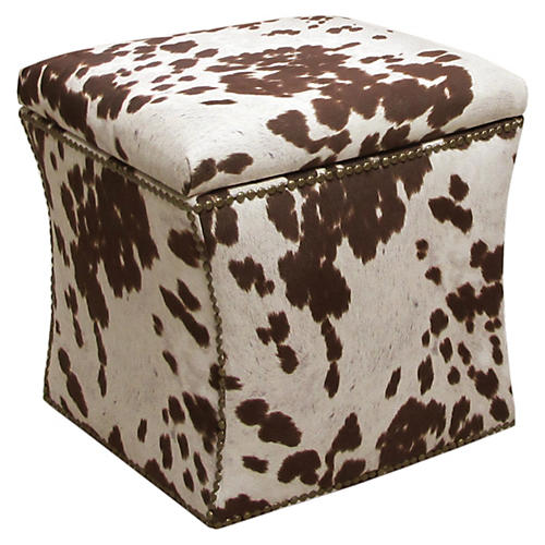 Merritt Storage Ottoman, White/Chocolate