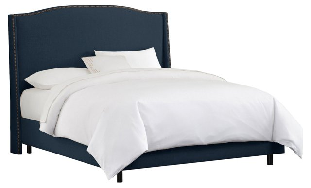 Cole Wingback Bed, Navy/Brass