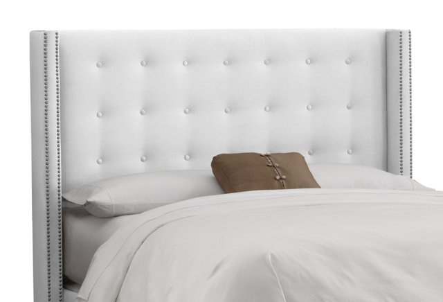 Clark Wingback Headboard, White