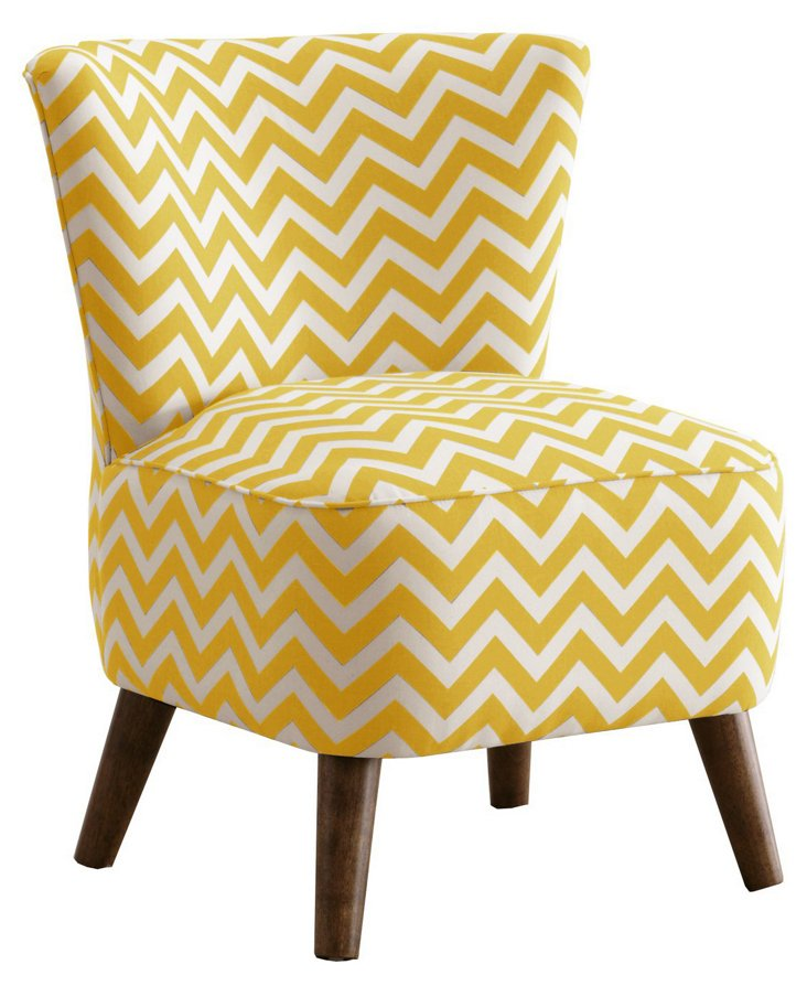 Barnes Chevron Modern Chair, Yellow