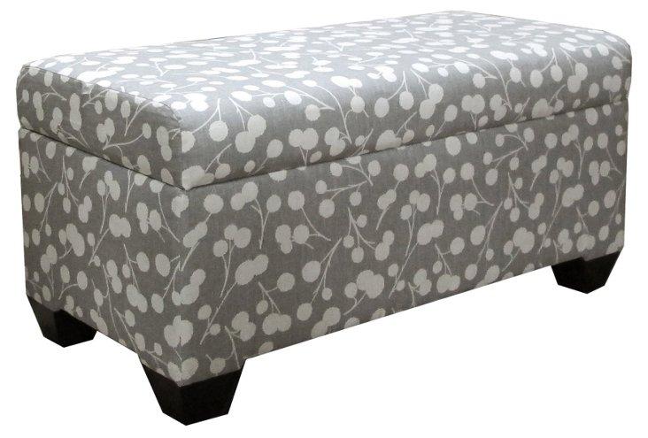 Hayworth Storage Bench, Gray/White