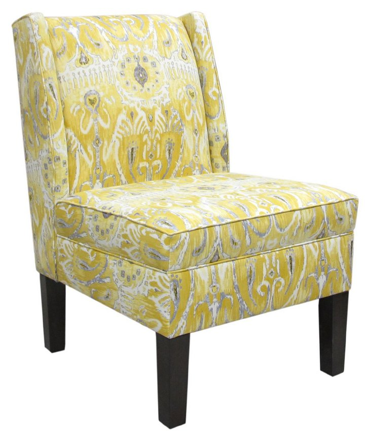 Porter Wingback Chair, Yellow/Gray