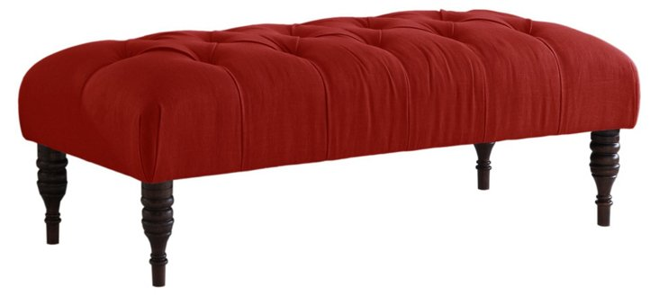 """Stanton 50"""" Tufted Bench, Red"""