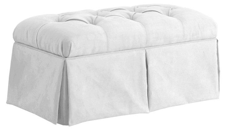 Olivia Skirted Storage Bench, White