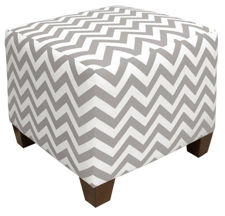 Zigzag Ottoman, Gray/White