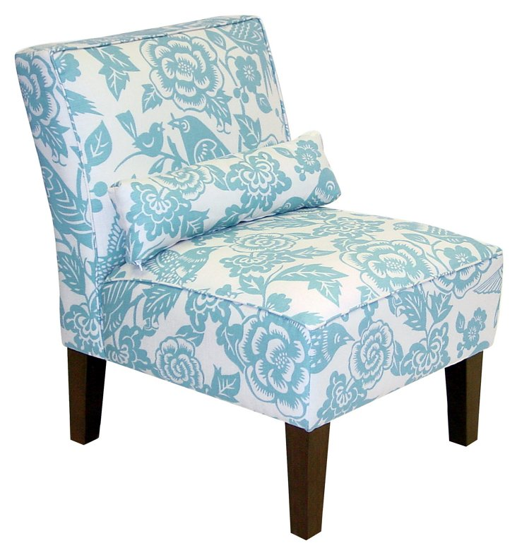 Bergman Armless Chair, Robin-Egg Blue
