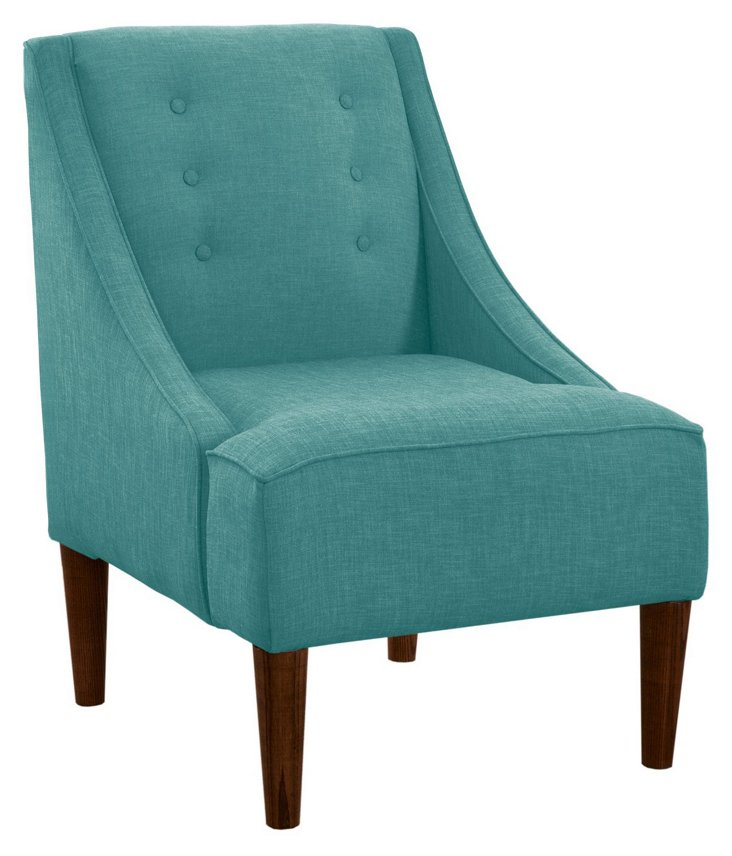 Quinn Swoop-Arm Chair, Teal