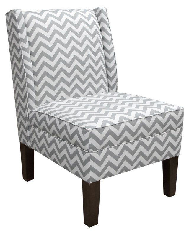 Porter Wingback Chair, Gray/White