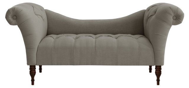 Cameron Tufted Chaise, Gray Linen