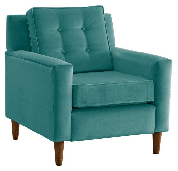 Winston Chair, Teal Velvet