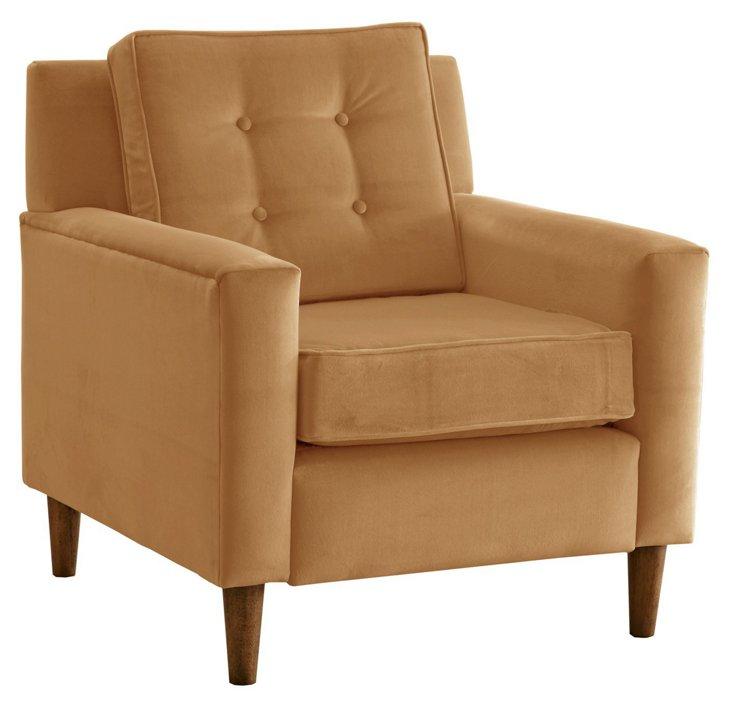 Winston Velvet Chair, Honey