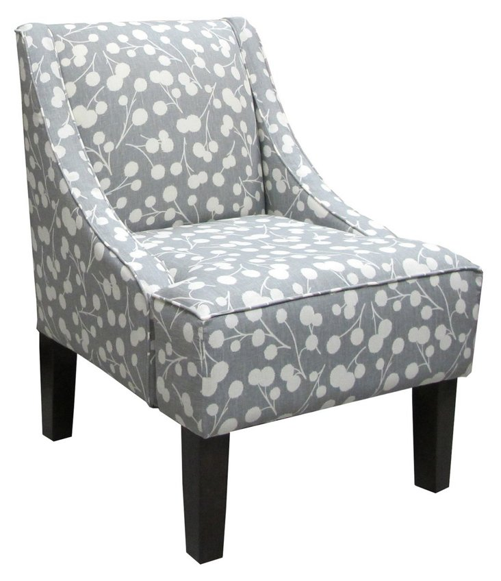 Fletcher Swoop-Arm Chair, Gray/White