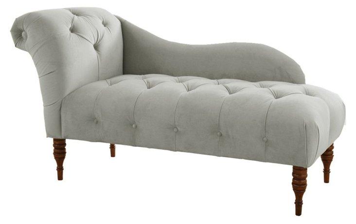 Francis Tufted Velvet Chaise, Gray
