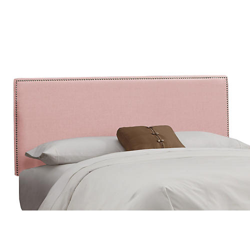 Linen Pink Hannah Button Headboard, King