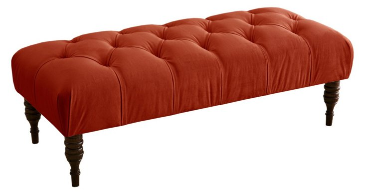 Stanton Tufted Bench, Red