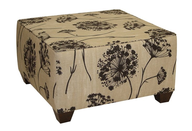 Serena Cocktail Ottoman, Beige/Black