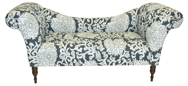 Hutton Floral Chaise, Smoke/White