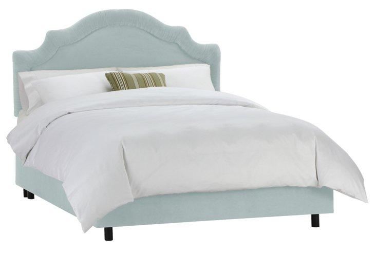 Marian Velvet Bed, Light Aqua