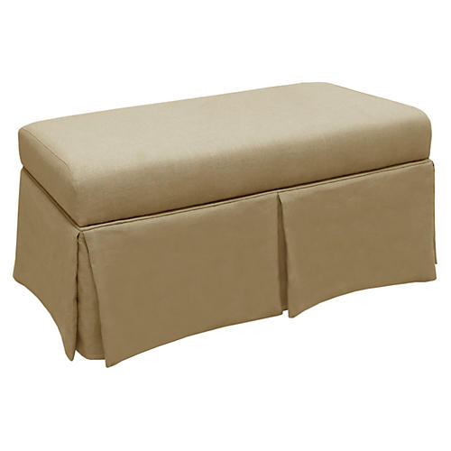 Hayworth Skirted Storage Bench, Sand Linen