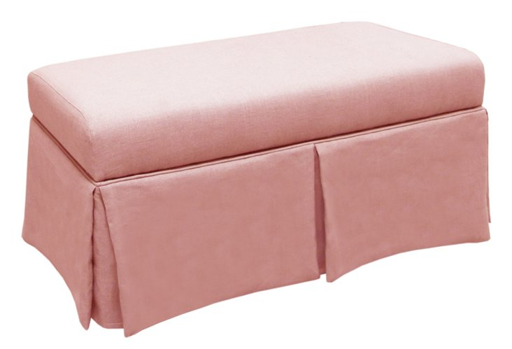 "Hayworth 38"" Skirted Storage Bench, Pink"