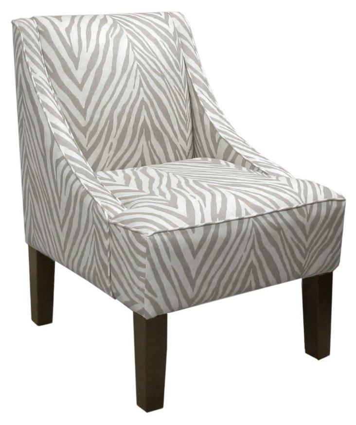 Fletcher Swoop-Arm Chair, Graphite/White