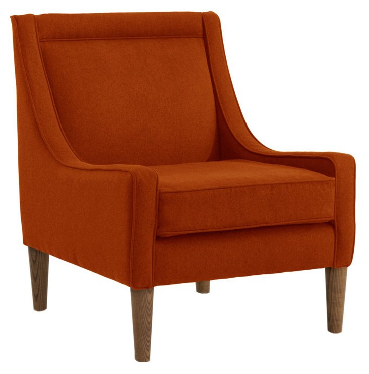 Scarlett Swoop-Arm Chair, Tangerine