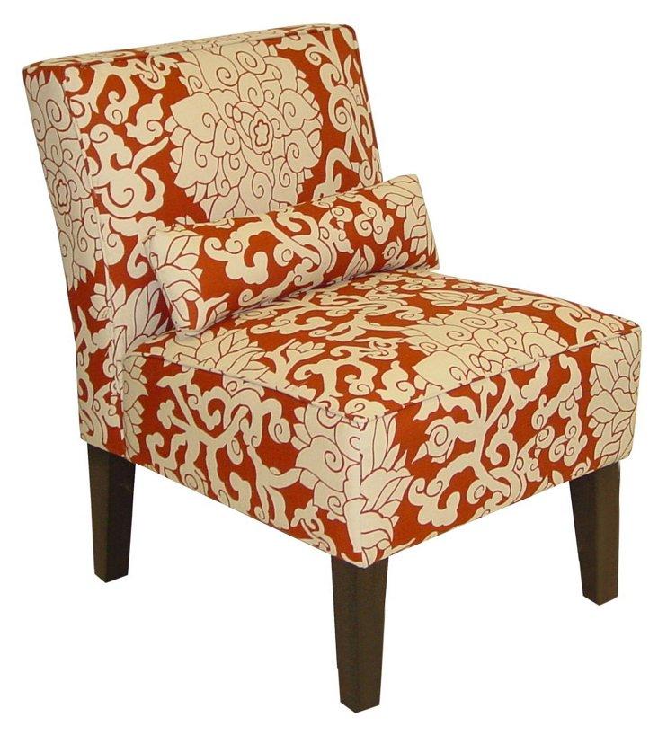 Bergman Armless Chair, Orange/Ivory