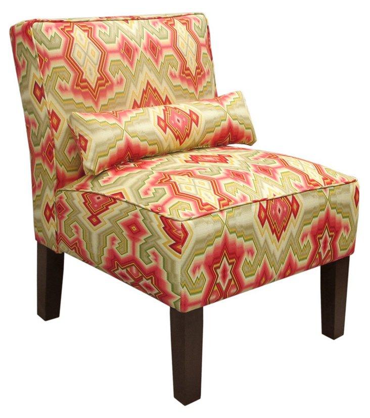 Bergman Armless Chair, Sage/Multi