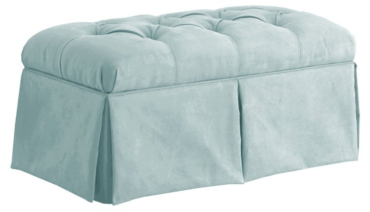 Olivia Tufted Storage Bench, Light Blue