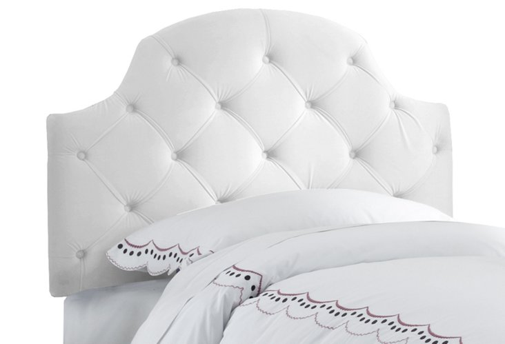 White Tufted Arched Headboard, Twin